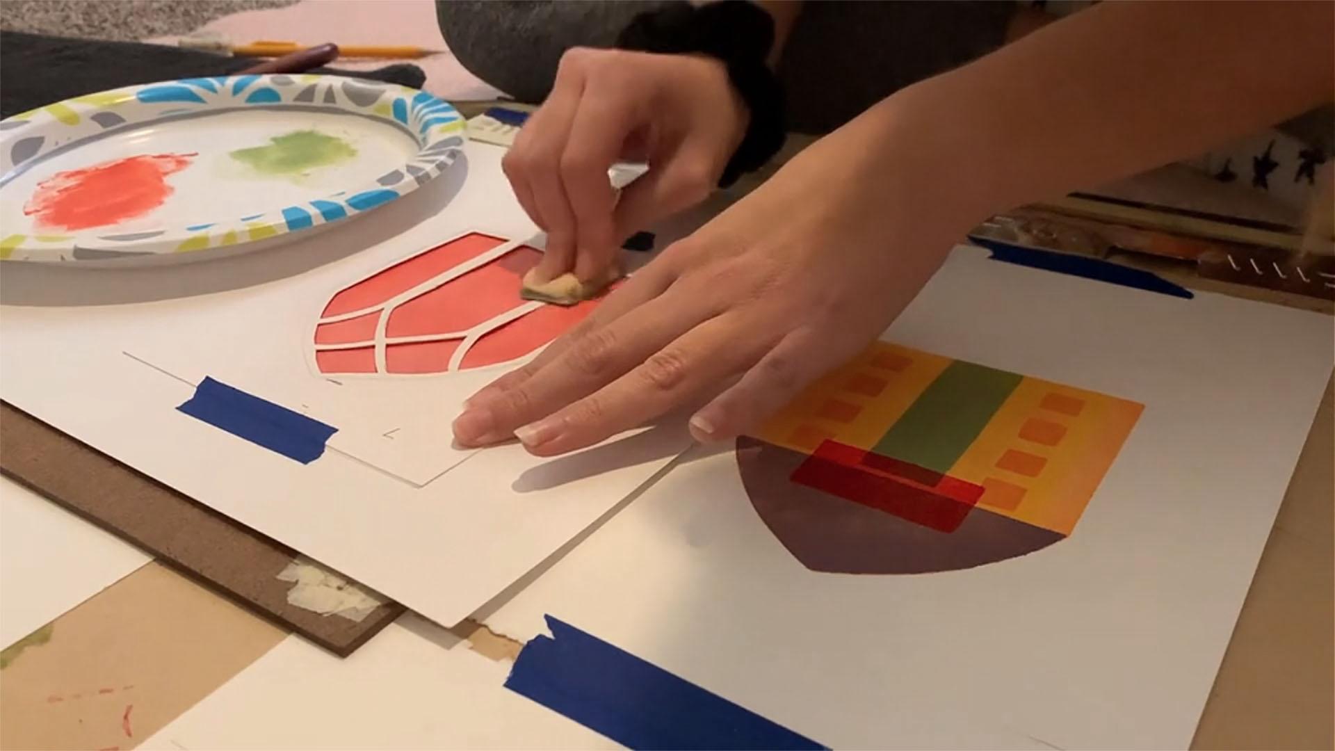 Maddie Wentz, Stenciling demo