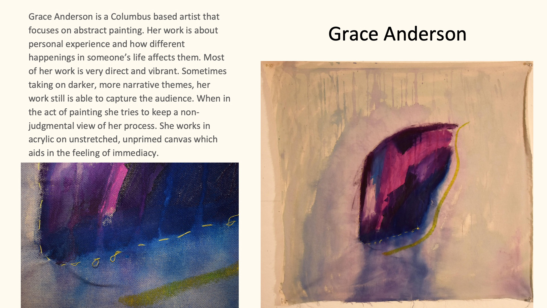 Grace Anderson, Abstract