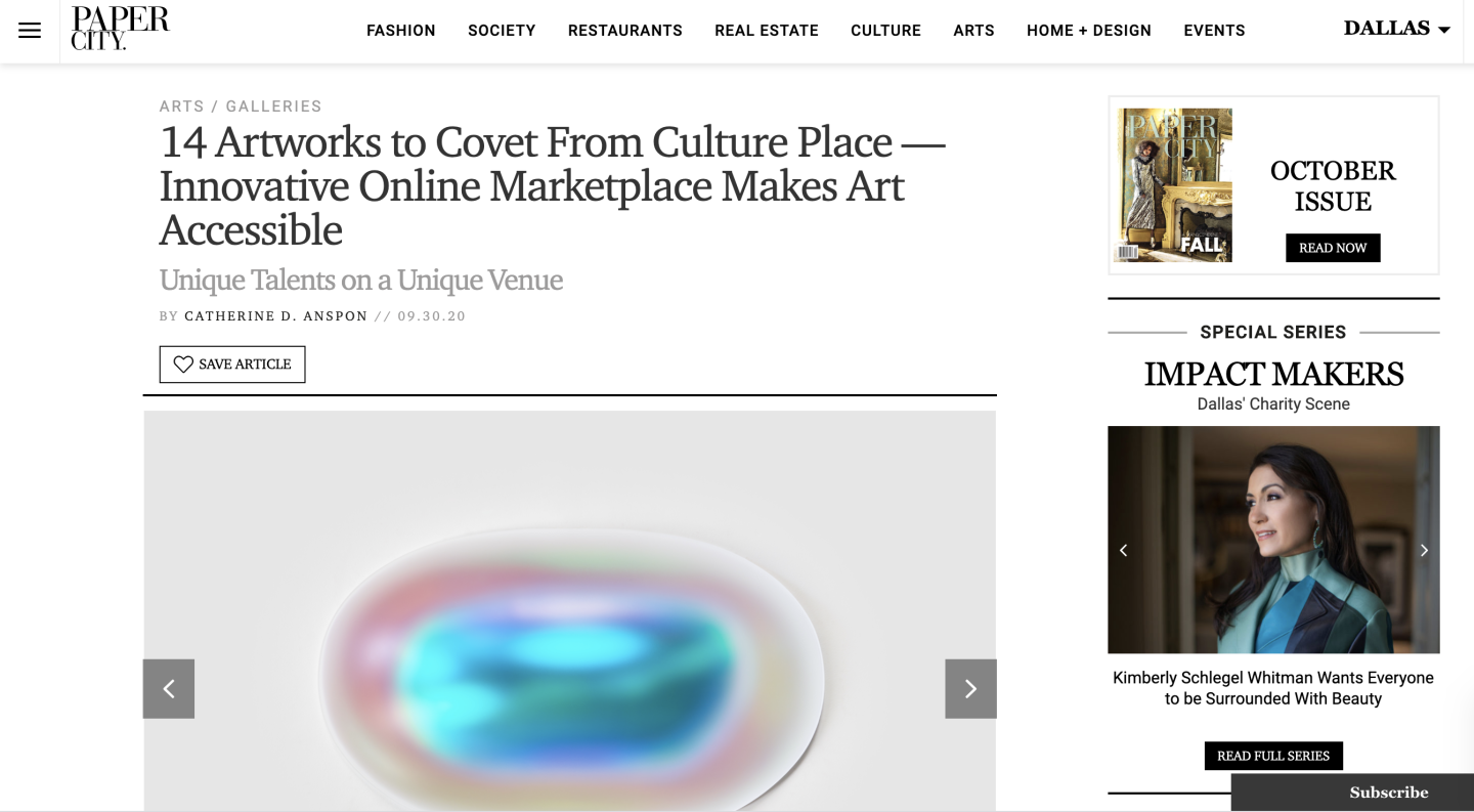 PaperCity: 14 Artworks to Covet From Culture Place — Innovative Online Marketplace Makes Art Accessible