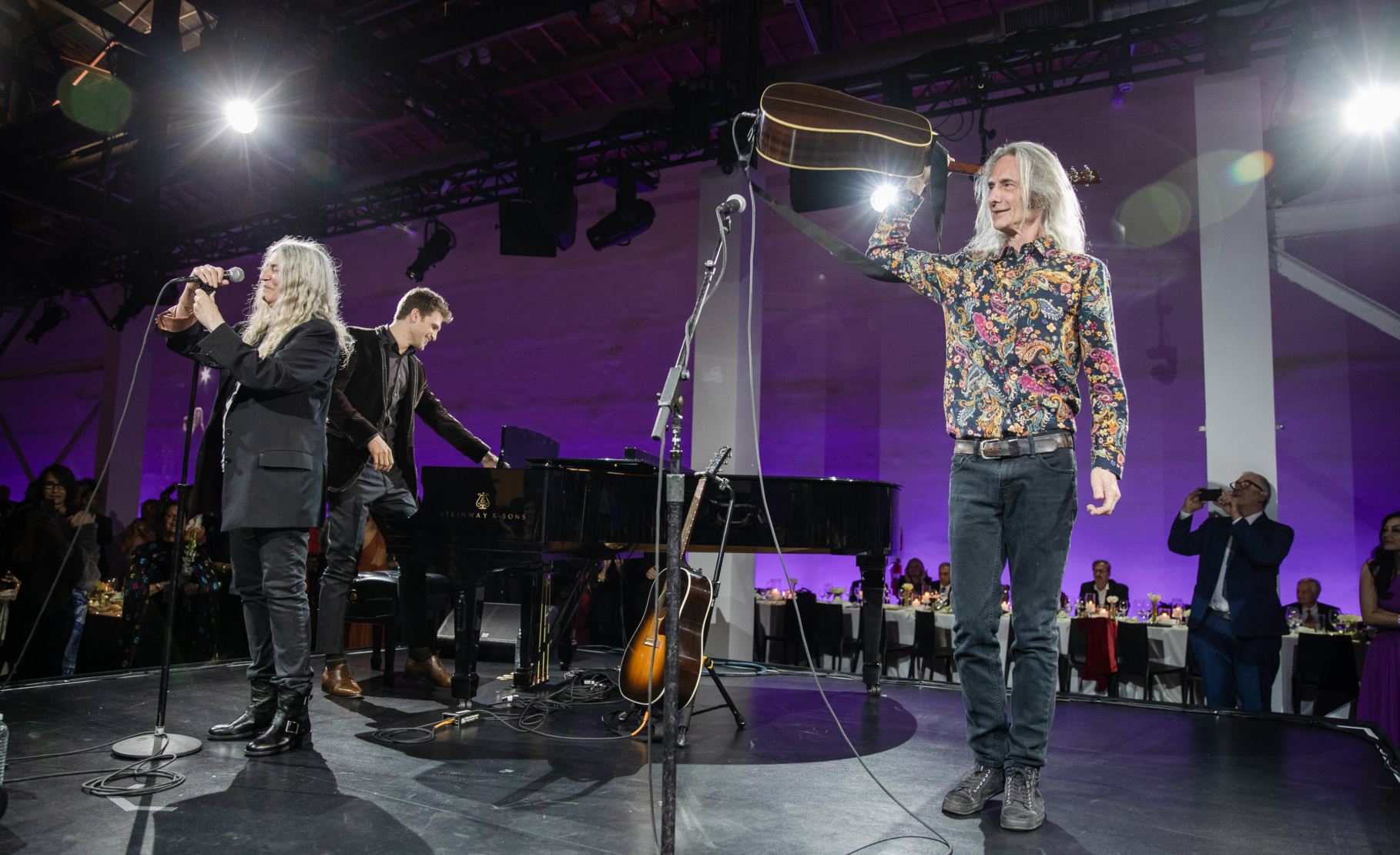 Patti Smith, Keegan Allen and Lenny Kaye