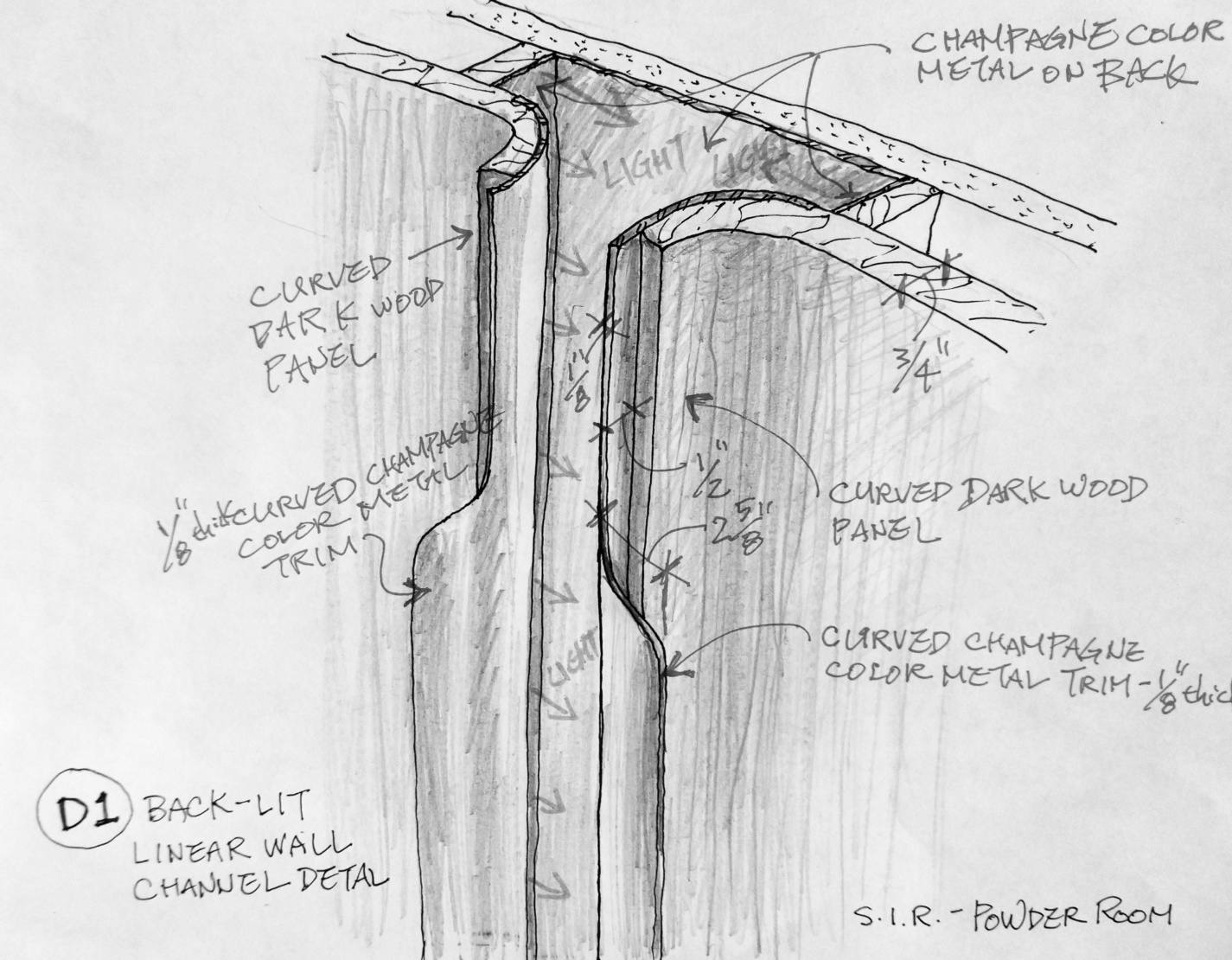 A drawing detail for the powder room.
