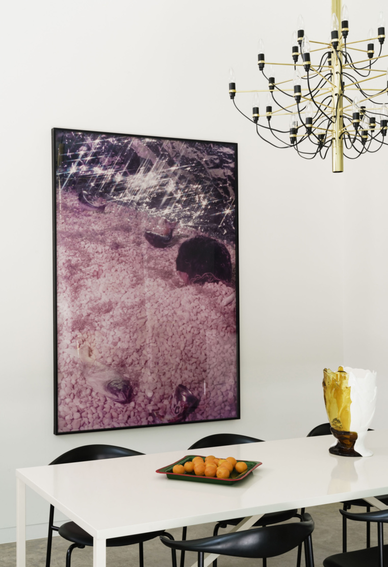 Cindy Sherman artwork. Gaetano Pesce tray and vase on the table.