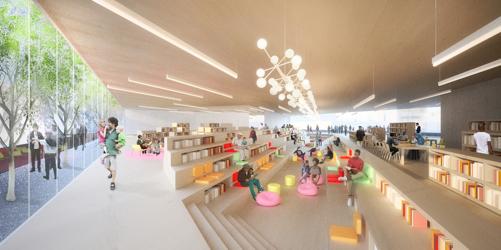 Library reading room with children