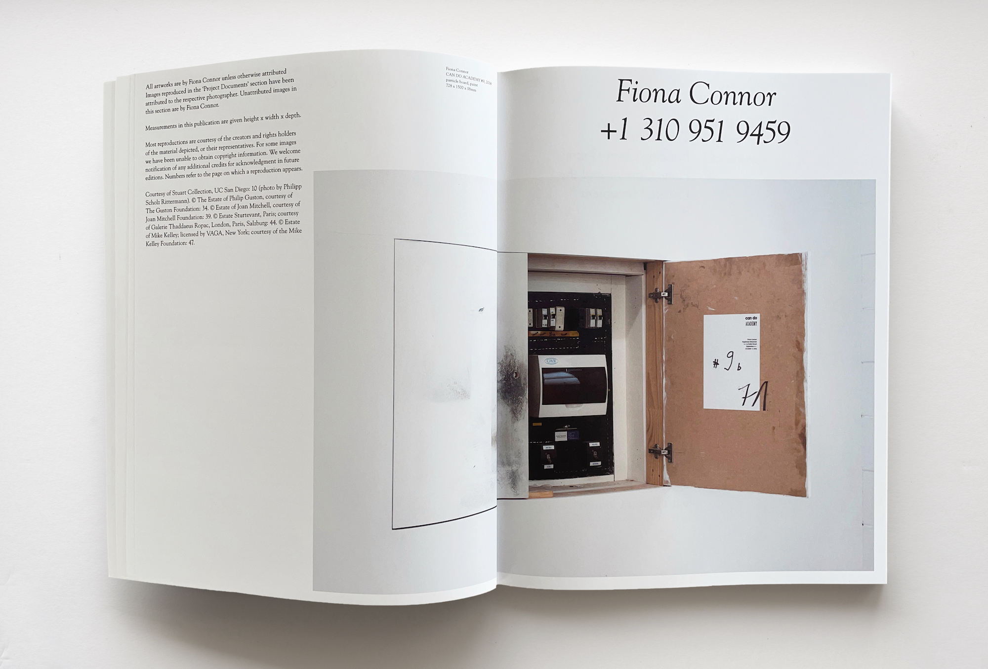 """Open spread of Fiona Connor's """"+3109519459"""" book open to cover page"""