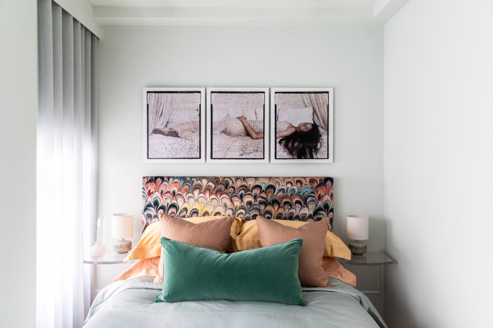 Bedroom with work by Lalla Essaydi.