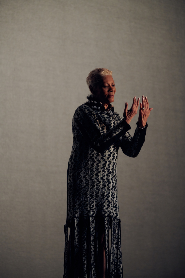 Dionne Warwick wearing Thebe Magugu. Photography by Cary Fagan.