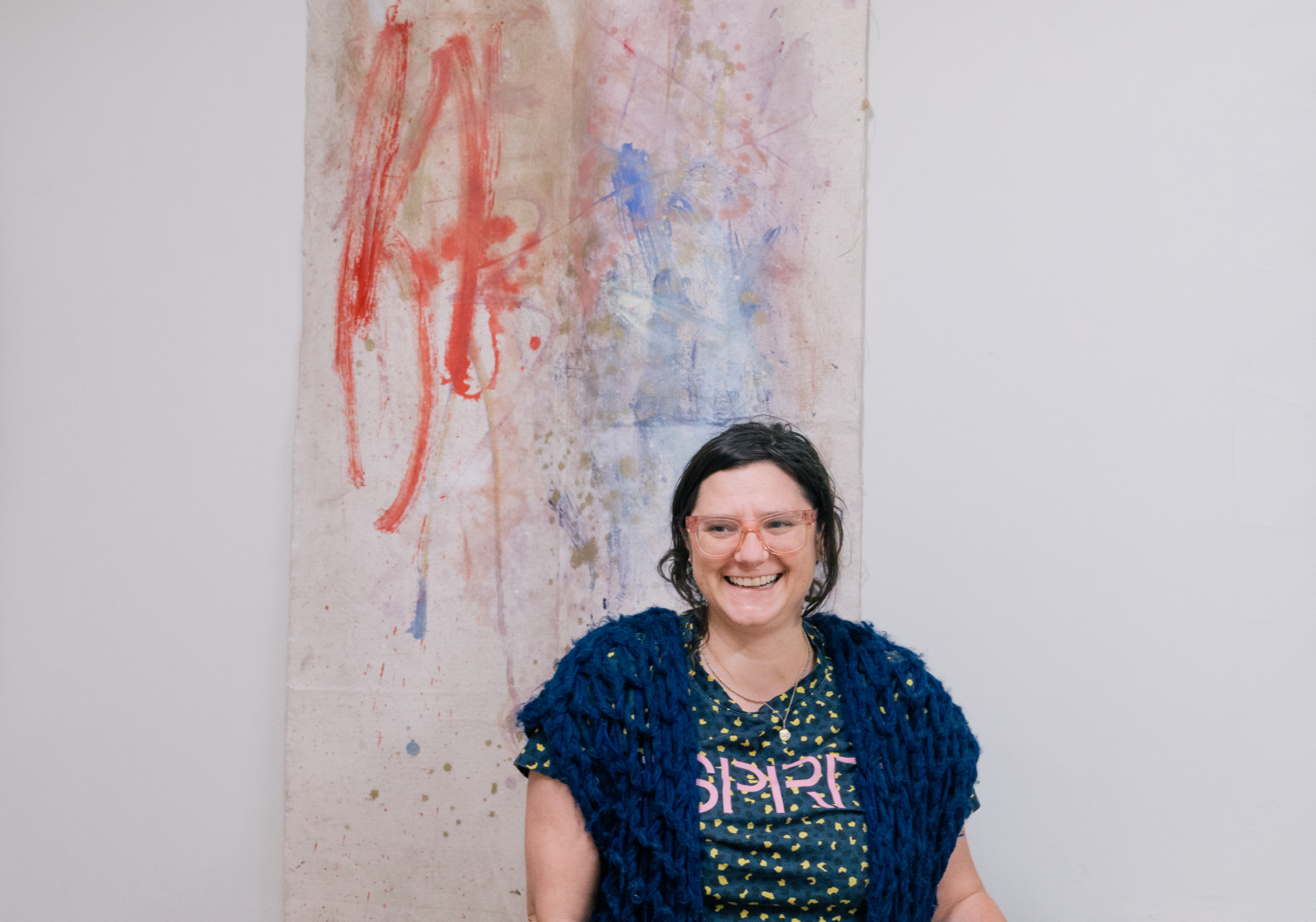 Lonegan with one of her works.