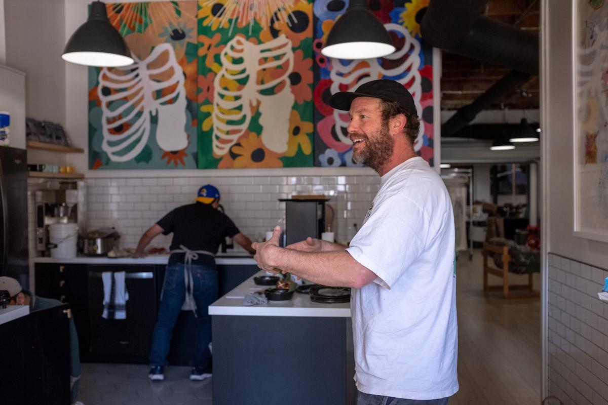Man talking in restaurant