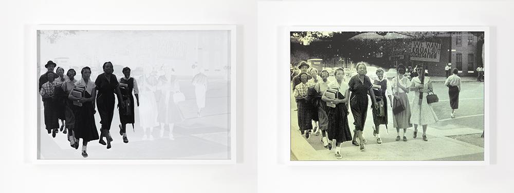 2 images of women walking