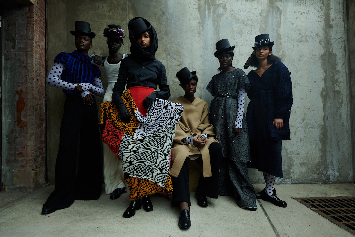Featuring looks by LECAVALIER and Matty Bovan. Photo by Ibrahem Hasan.
