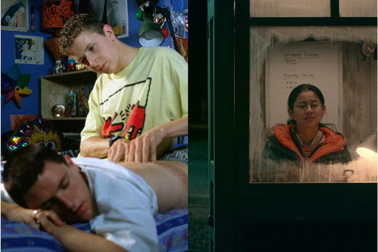 Two teenage boys; girl sitting in telephone booth queer films