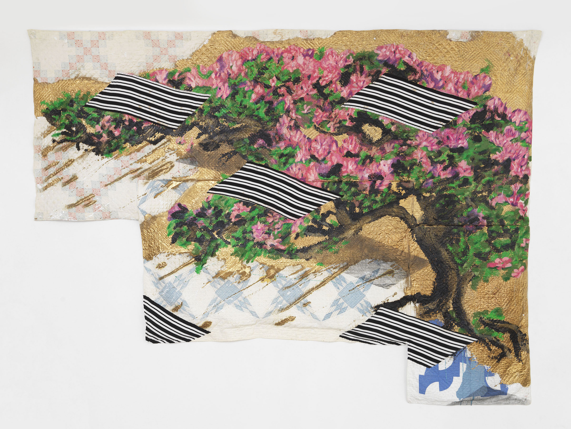 quilt by sanford biggers, with bottom left corner cut out'; image of bonsai tree on the quilt, interspersed with striped fabric pieces