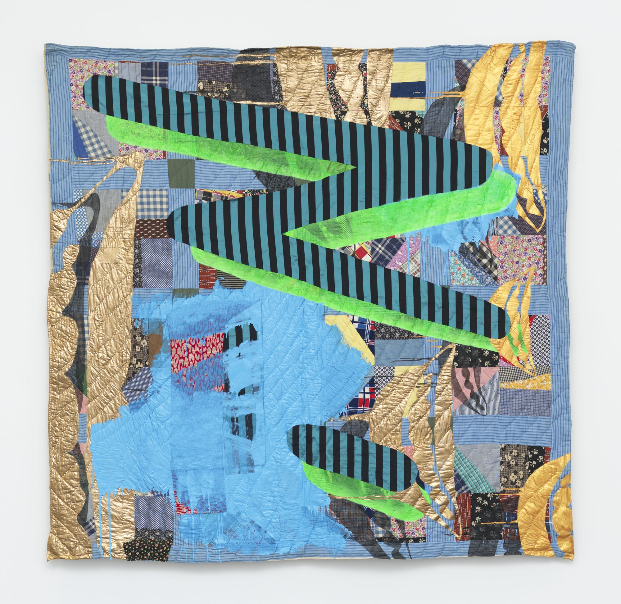 quilt by sanford biggers, with abstract image overlayed with a zigzag shape