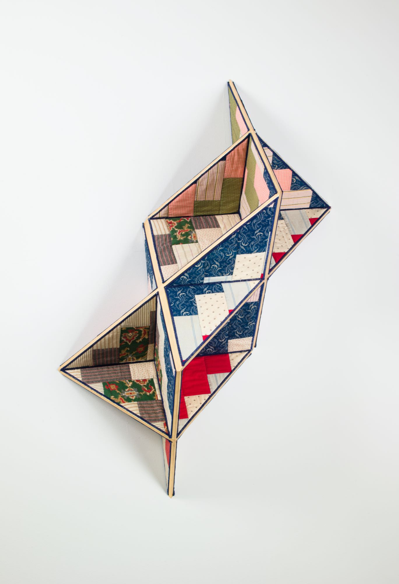 3D quilt by sanford biggers with square geometric shapes
