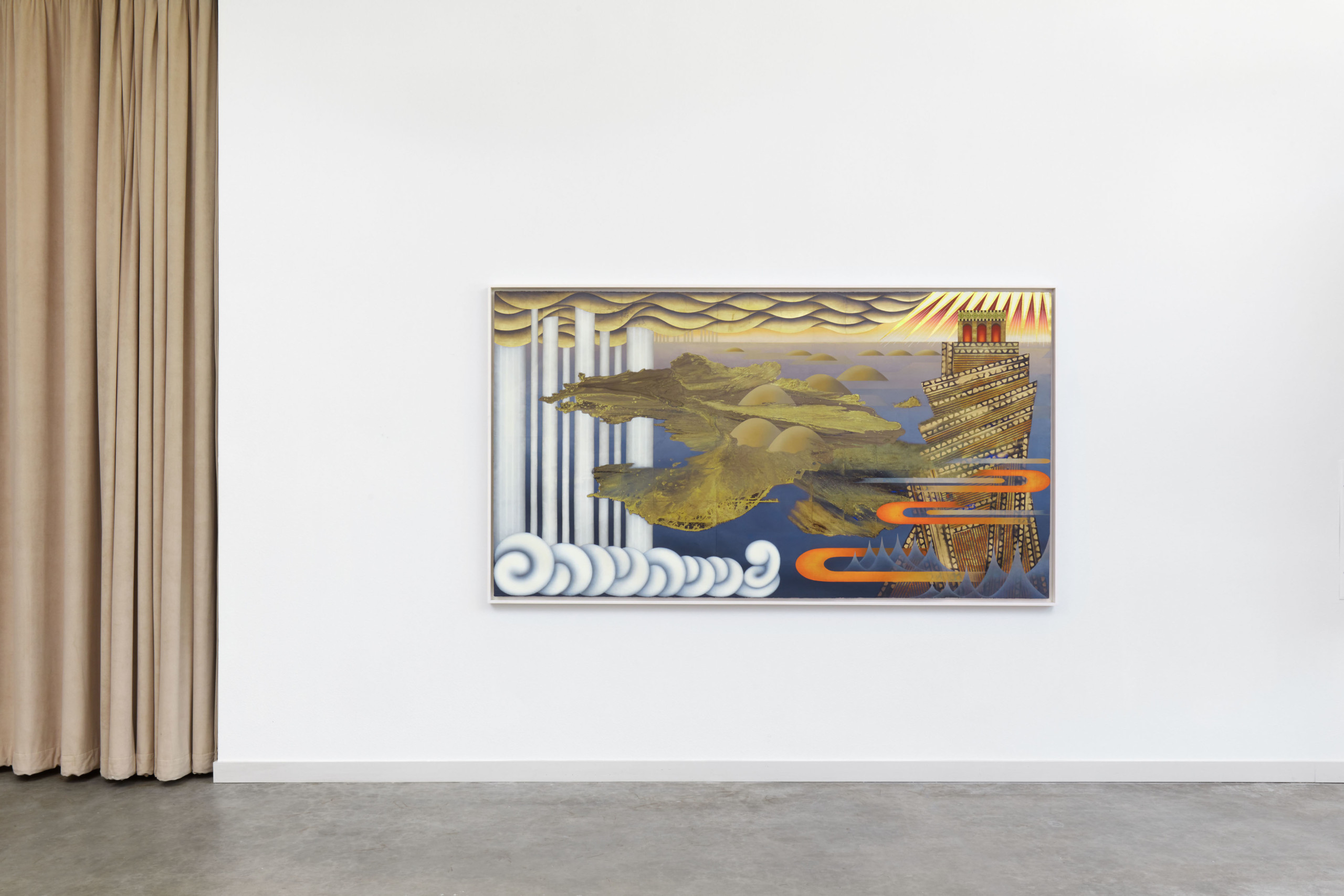 Artwork with gold leaf hanging in gallery space
