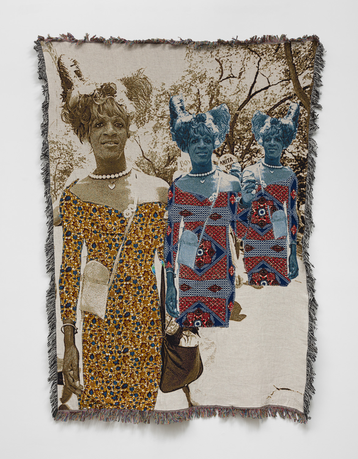 blanket piece by april bey, image of marsha p johnson relayed in different fabrics