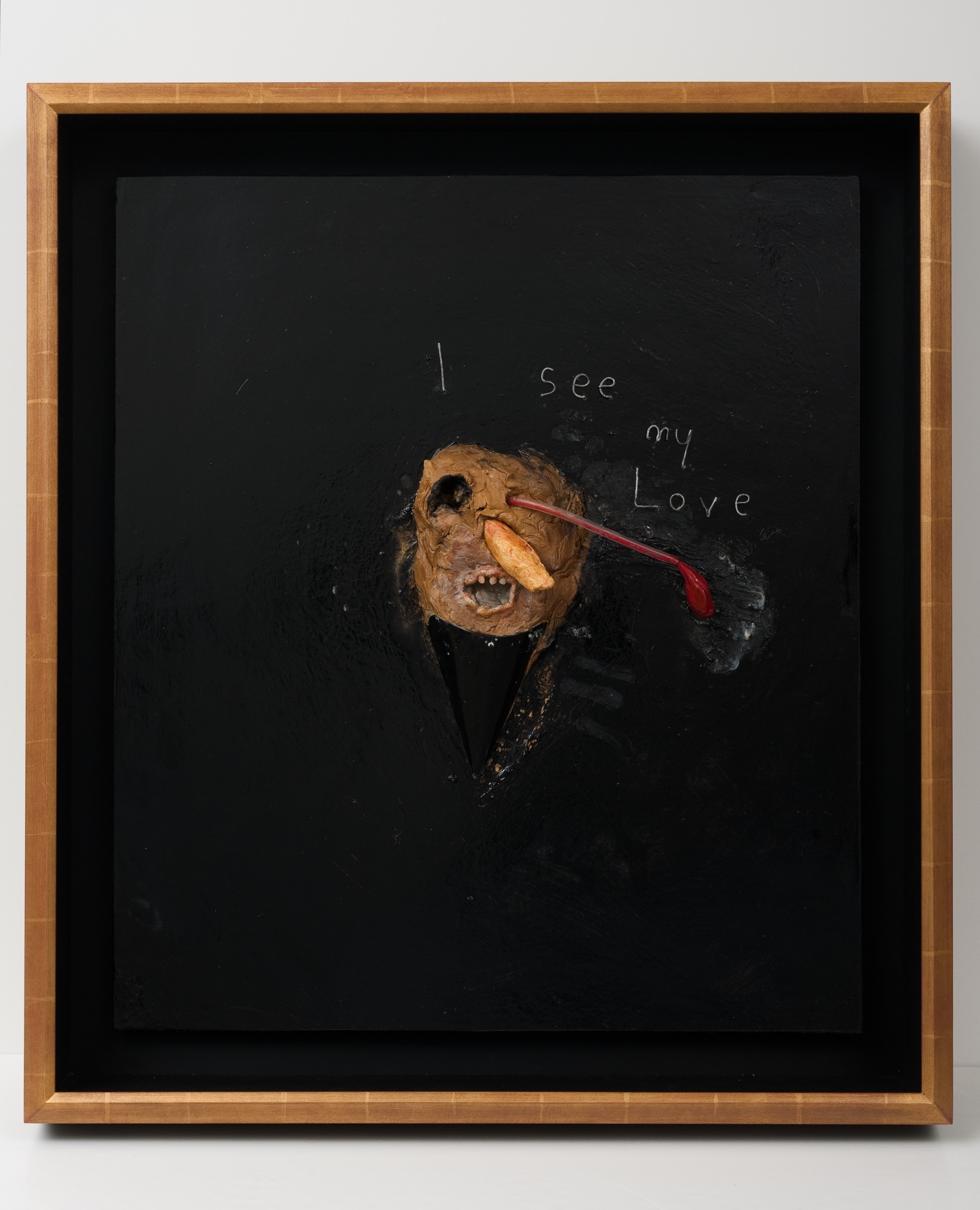 painting of mask with something smoking out of its eye