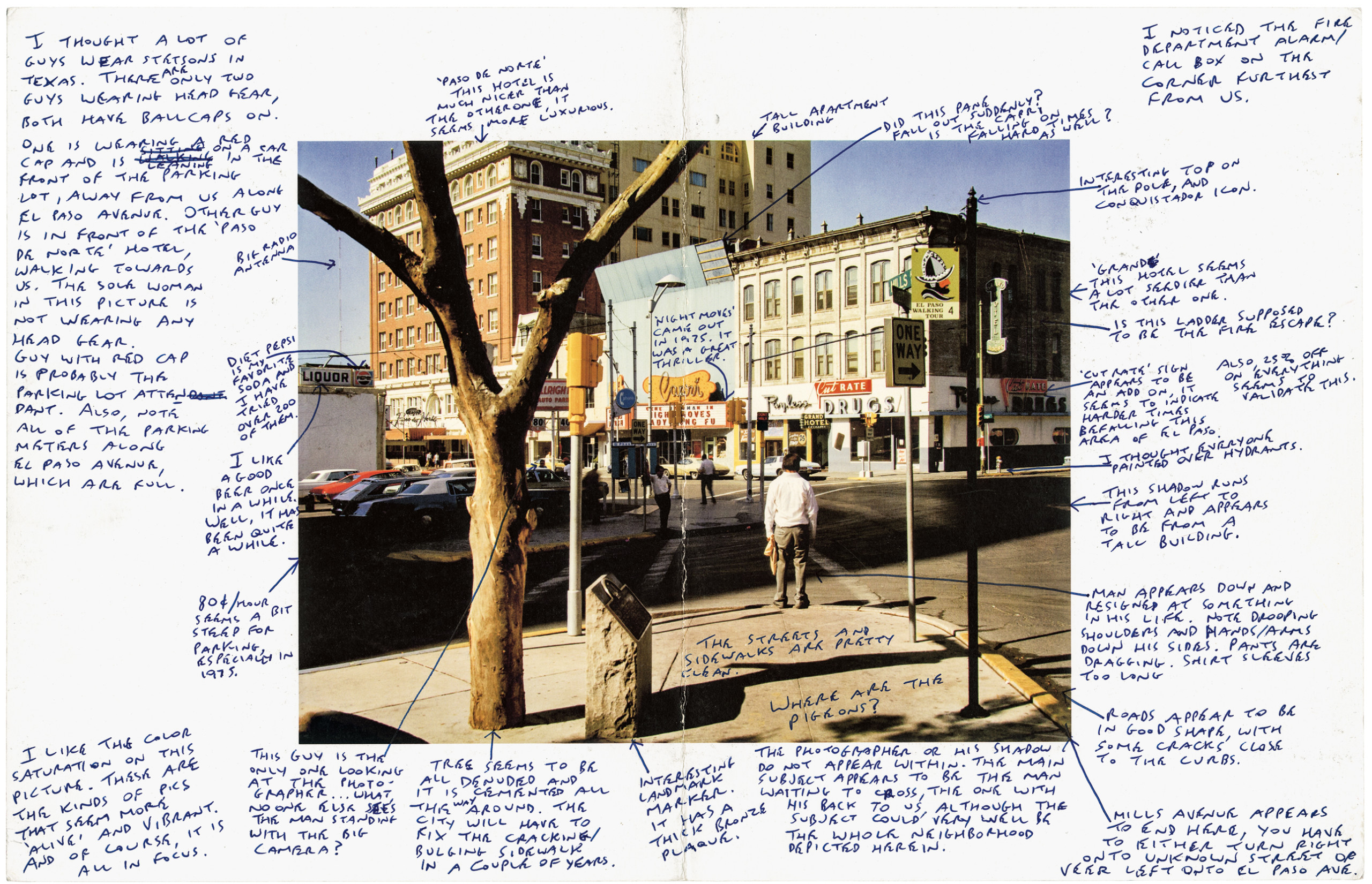 scan of photograph of street scene, surrounded by handwritten observations and notes