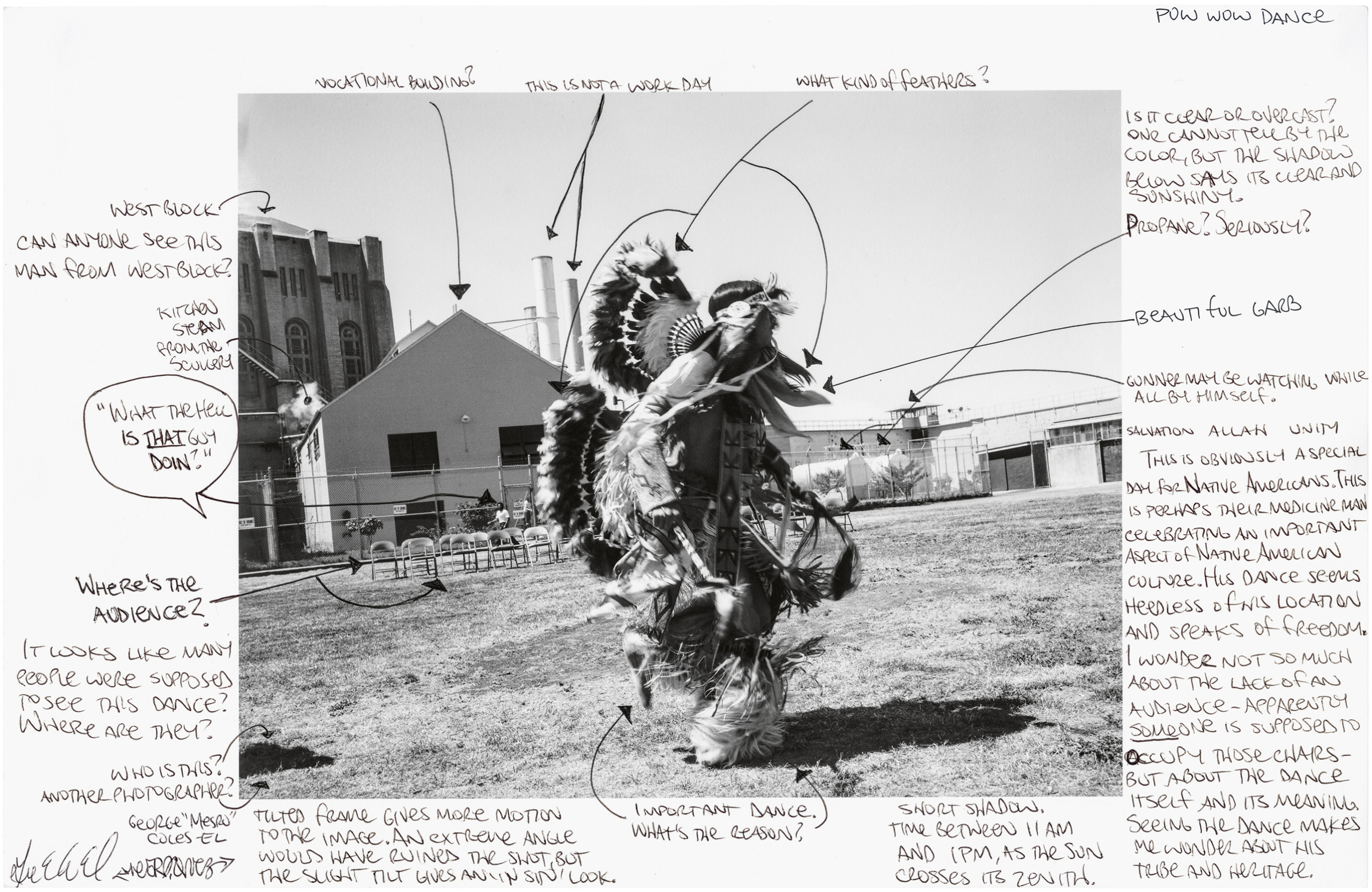 photograph of man dressed in traditional Native American wears in prison yard; scan of the image surrounded by handwritten notes