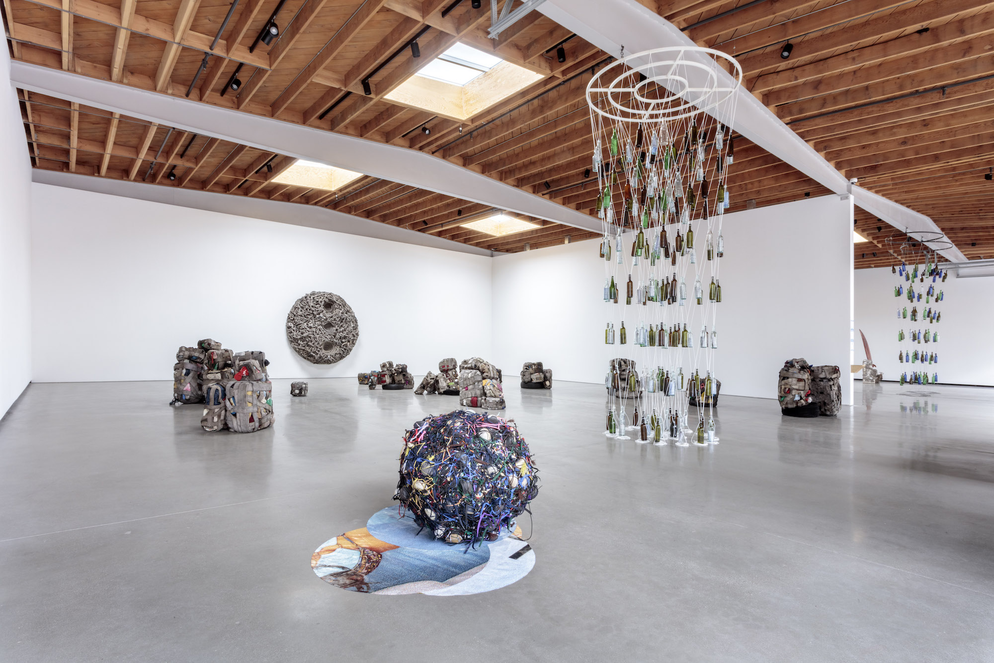 installation view of nari ward pieces made out of recycled materials