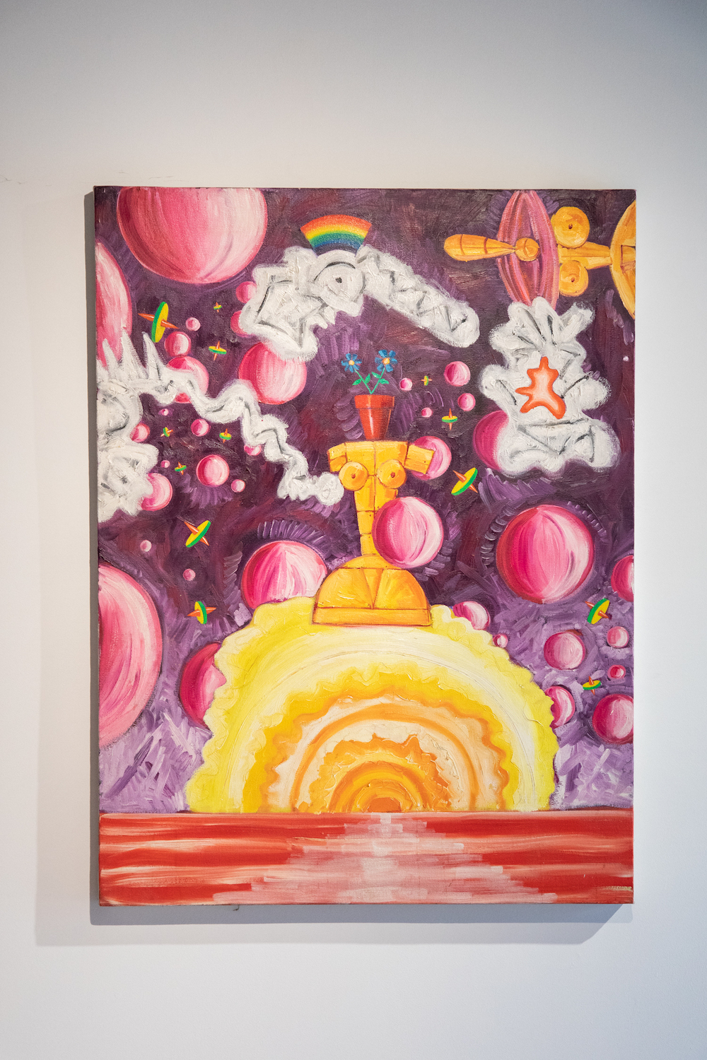 painting in peter shire installation, with psychedelic imagery