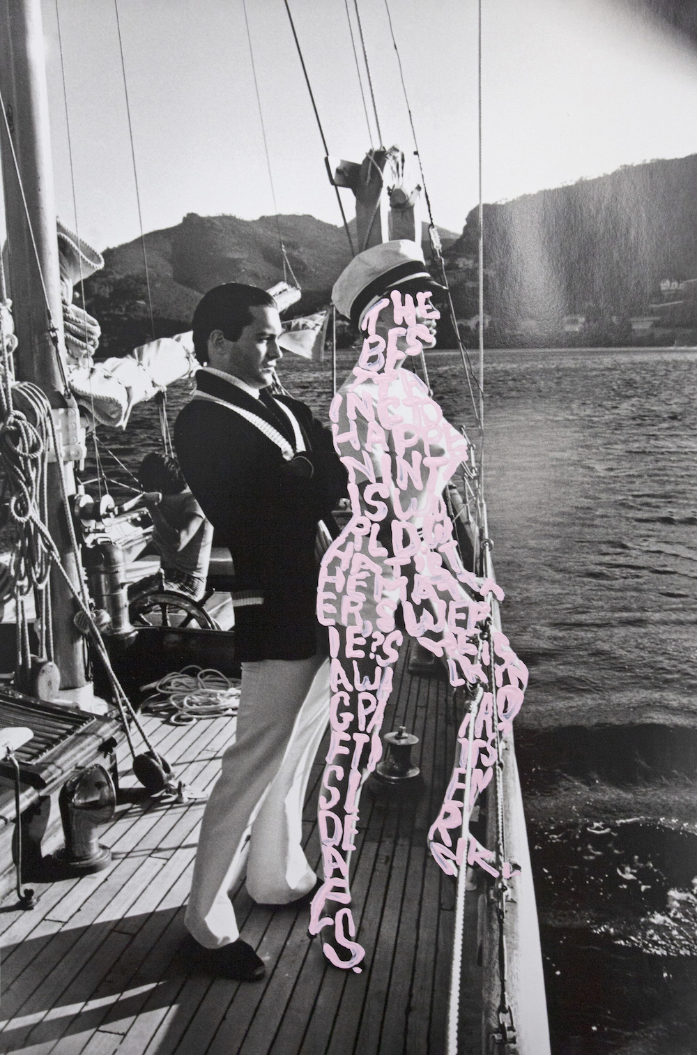 work by betty tompkins of photo of man and woman on sailboat with the woman covered in light pink words