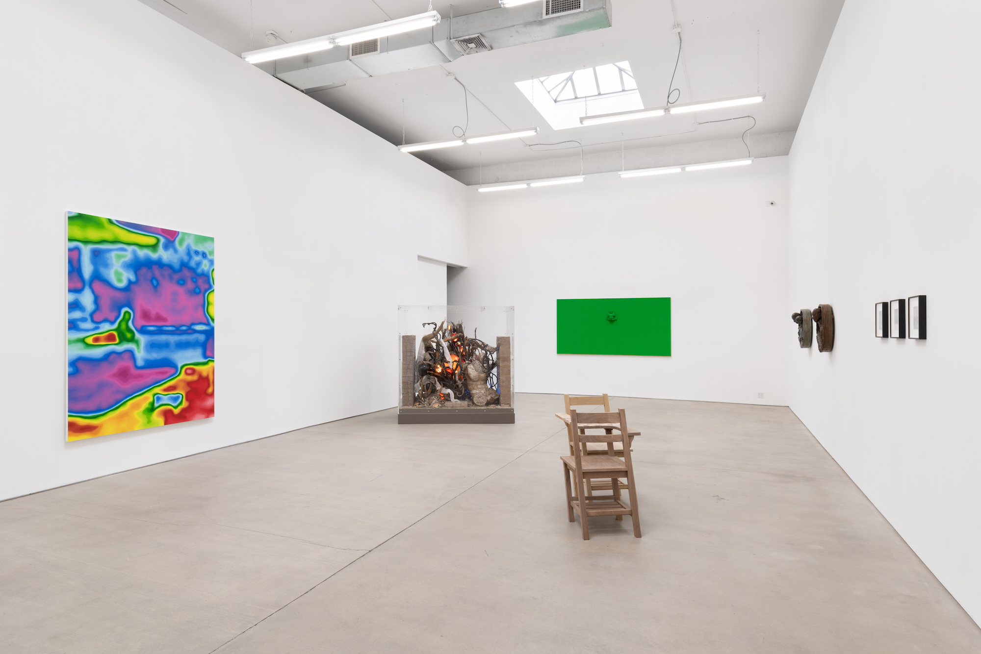 installation view of often vary never change at clearing gallery in nyc featuring painting and sculptural works