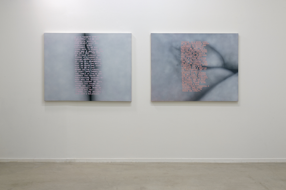 2 works by betty tompkins of up close genitalia in black and white with pink words transposed onto them