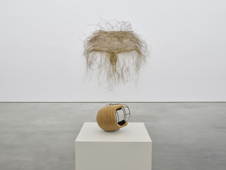 basketball hoop made of straw and straw-colored football helmet (resting in front of hoop) by hugh hayden in gallery space