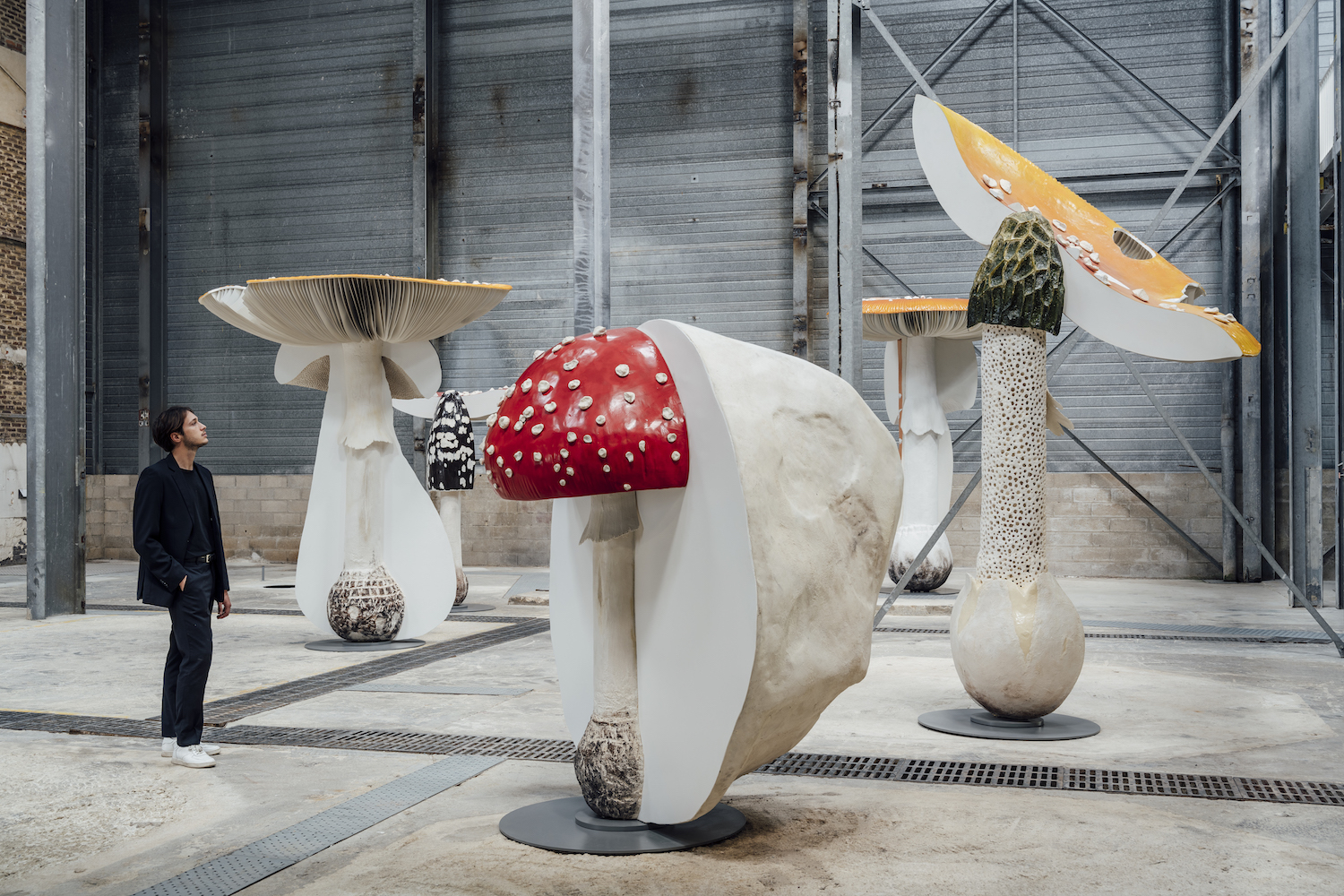 gallery view at gallery continua in les moulins of giant cartoonish mushrooms
