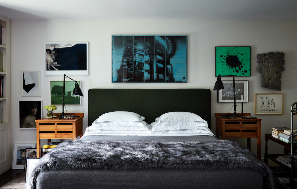 Left hand side: Wolfgang Tillmans, Studio, 2012; Wolfgang Tillmans, Paper Drop (Black), 2001; Helen Verhoeven, Texas Saturday, 2005; Michael James O'Brien, Portrait of a Young Man, 2002-2006; Above bed: Anthony Cairns, IBNTY02_010, 2016; Right hand side: Andrew Brischler, Charcoal / Emerald Splatter, 2017; Pierre Sabatier, Charbonnie, Sculpture, 1974; 1 of 4 Christopher Wool prints. Christopher Wool, Four Short Stories, 2004; David Shrigley, Untitled, 2008.
