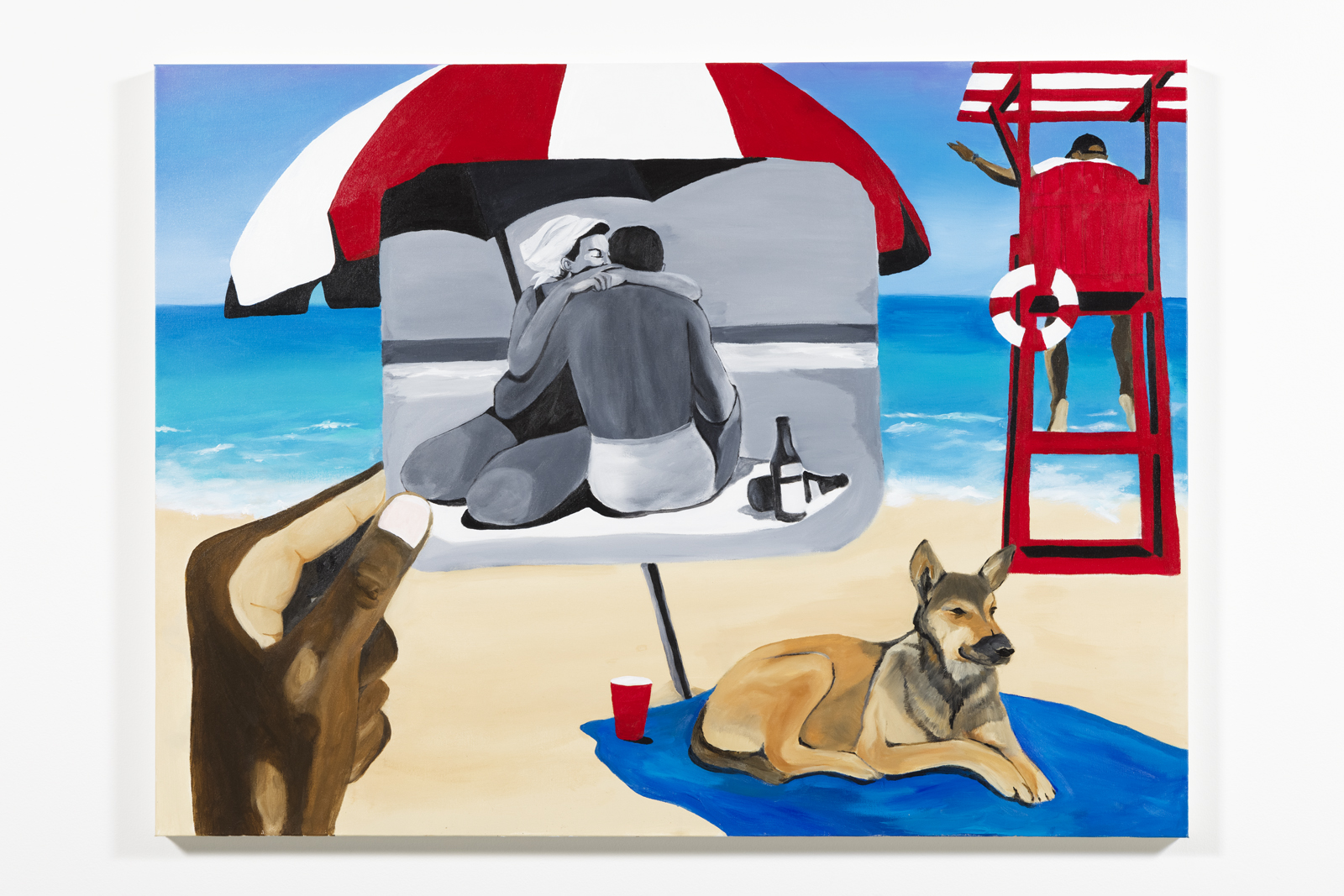 beach day by blitz bazawule, a painting of a beach with a dog and lifeguard stand and a hand holding up a black and white image of a couple embracing