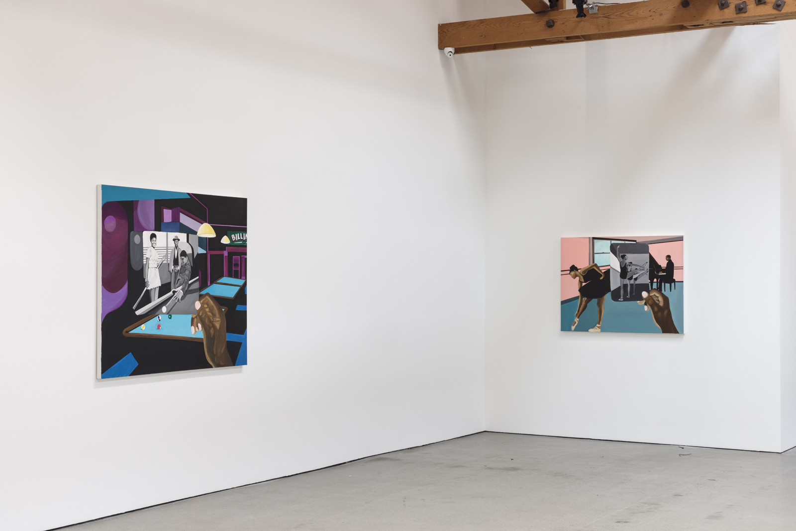 installation view of blitz bazawule a moment in time with 2 paintings hanging in gallery space