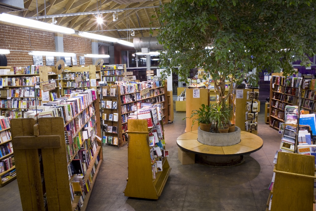 skylight books inside, with large tree at the center of bookshelves