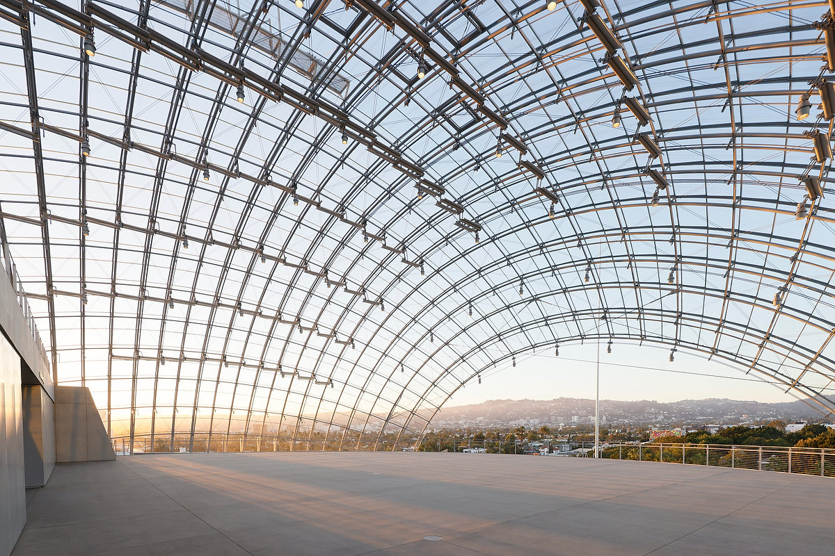 Inside the glass-domed terrace by Renzo Piano.