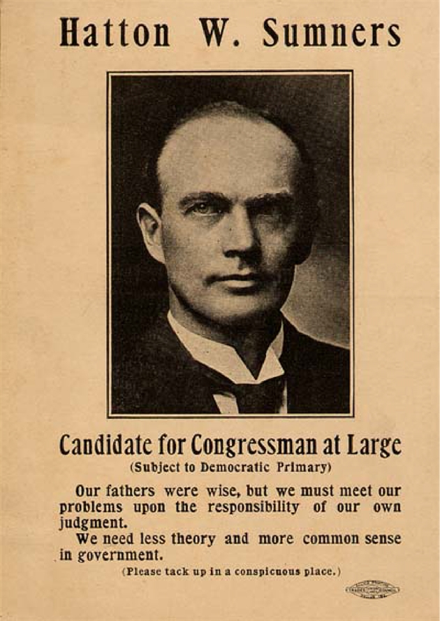 A 1912 campaign poster for Hatton Sumners' first congressional run.