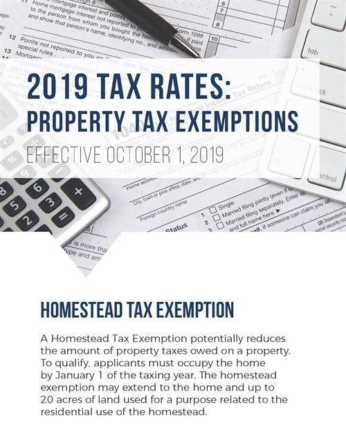 2019 Tax Rates: Property Tax Exemptions