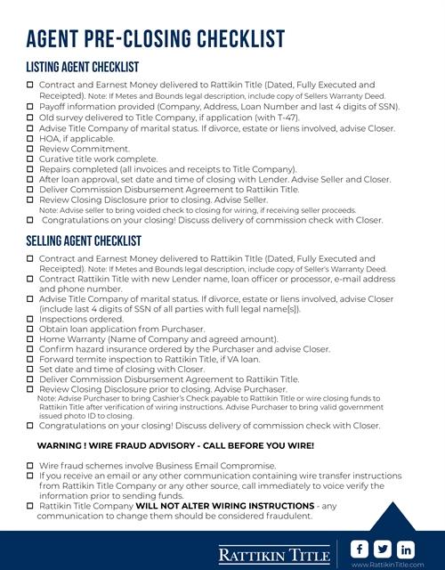 Agent Pre-Closing Checklist