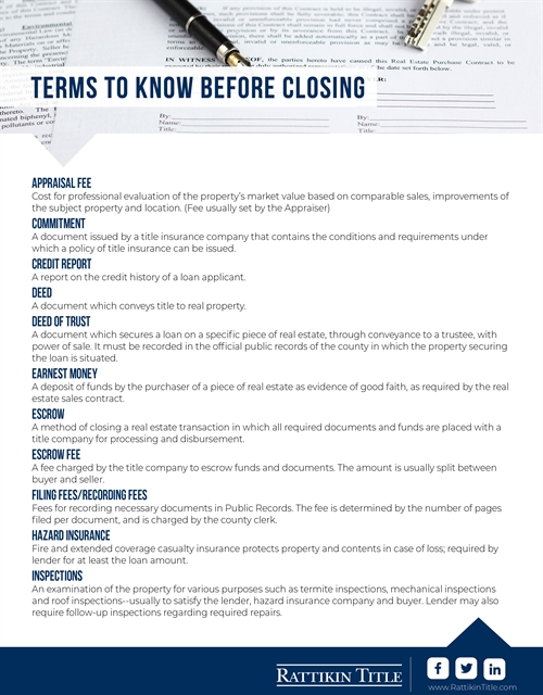 Closing Cost Definitions