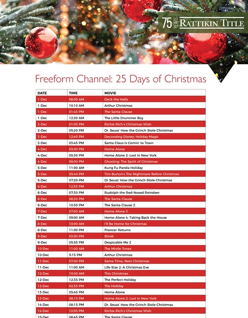 Freeform Channel: 25 Days of Christmas 2019