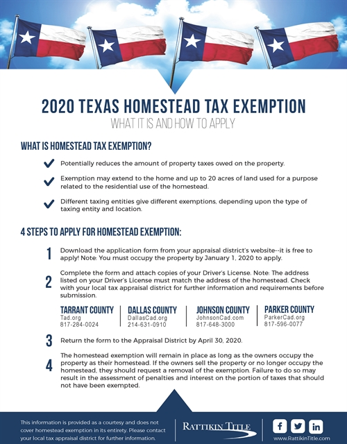 2020 Texas Homestead Tax Exemption